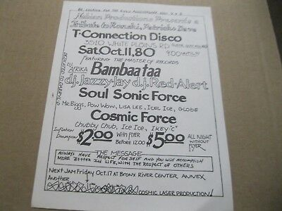 Rare Hip Hop Flyer T-Connection Bambaataa-Jazzy Jay-Red Alert-Soul Sonic Force