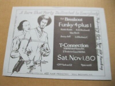Rare Hip Hop Flyer D.j. Breakout - Funky Four Plus 1.eddie Ed Pootwo 1980