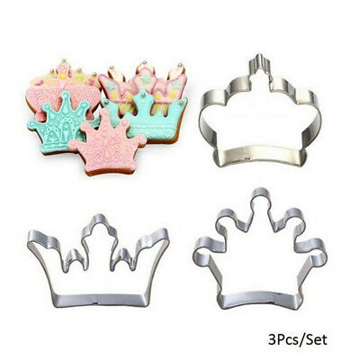3X Princess Crown King  Party Cookie Cutters Cake Biscuit Baking Tool Molds LF