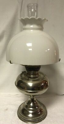 Antique Rayo Nickel Oil Lamp With Milk Shade