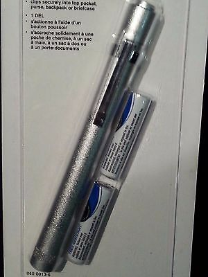 NEW In Box - Silver/Glittery Push Button Clip On LED PenLight