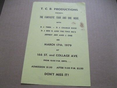 Rare Hip Hop Flyer Fantastic 4 And One More-Dj.tibbs-Dj.charlie Rock 1979