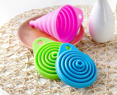 1 X Silicone Gel Foldable Collapsible Style Funnel Hopper Kitchen Tool RL