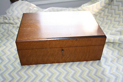 Antique 1870's Writing Travel Wood Lap Desk Box With Lock And Key
