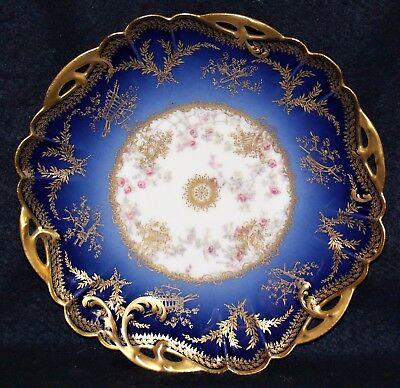 Beautiful Limoges Hand Painted Cobalt,gold & Floral Plate - Sewing/quilting