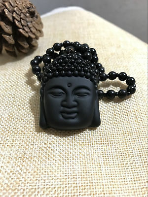 Chinese Natural Obsidian hand carved 'Buddha head' jade necklace pendant