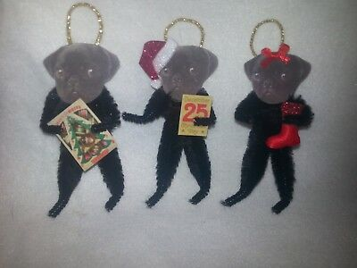 Vtg Style Christmas Pug Dog 3 Boxed Ornaments Feather Tree