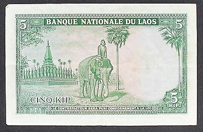 NATIONAL BANK OF LAOS NOTE 1962 5 KIP p9a ND  2680