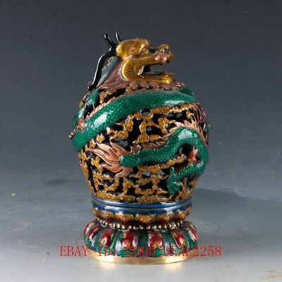 Chinese Cloisonne Hand Carved Dragon incense Burner W Ming Dynasty Xuande Mark