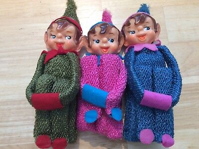 3 Adorable Rare Vintage PIXIE ELVES Japan Rare colors & material