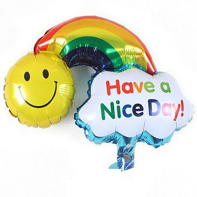 Smlie Rainbow Foil Ballons Happy Birthday Wedding Party Festival Home Decor Gift