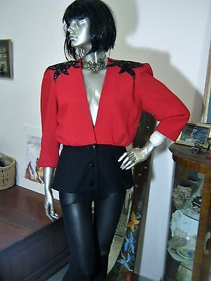 Very 80S Glam Red & Black Wool Crepe(?) Party Jacket. Sz 8-10.