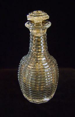 Georgian Cut Glass Decanter Step Cut ( Faceted) all over: Stapled Repair  c.1820