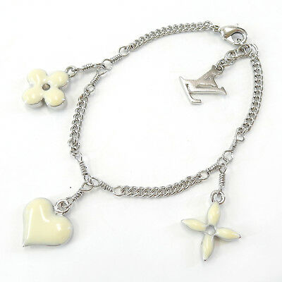 LOUIS VUITTON Silver Plated LV White Flower Charm Chain Bracelet #2162a Rise-on