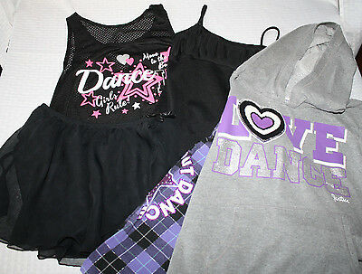 Dance Lot BLOCH Black Leotard JUSTICE Hoodie Pants DANSKIN Skirt Tank L 12 14 18