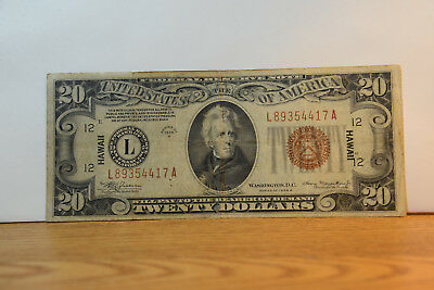 1934 $20 Hawaii US bill. rare paper banknote. No reserve l@@k