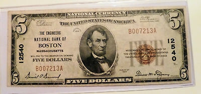 National Banknote Currency Series 1929 BOSTON Mass. ENGINEERS NB Charter 12540