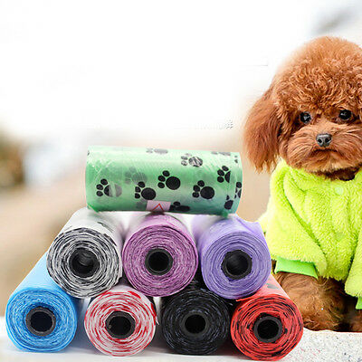15PCS/Roll Claw Print Pet Dog Pick Up Waste Poop Clean Bags Plastic Degradable