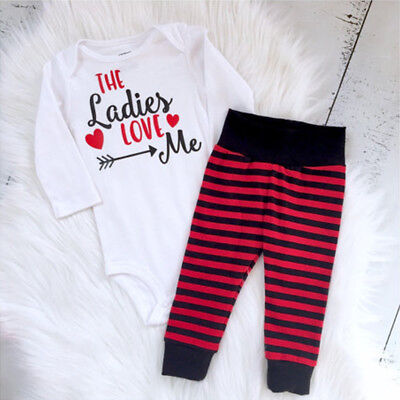 AU Stock Newborn Infant Baby Girls Boy Clothes Romper Striped Pants Outfits Set