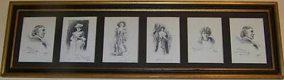 Vintage Framed Group of Cards of 19th Century Stage Actors and Actresses