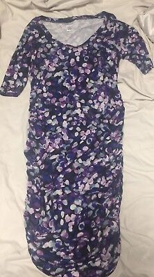 Motherhood Maternity Dress Purple Stretchy Body Con Ruched Size Small