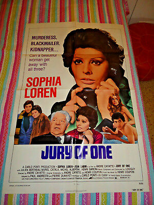 "Jury of One 1975 Original Movie Theater Poster Approx. 27x40"" Sophia Loren"