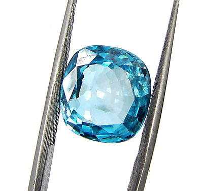 4.65 Ct Certified Natural Blue Zircon Loose Gemstone Stone Tanzania 118334