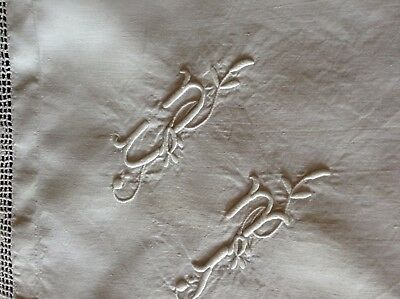 vintage monogrammed French pillowcase