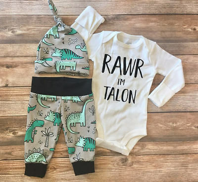 AU Stock 3pcs Newborn Baby Boy Girl Top Dinosaur Romper+Pant Outfits Set Clothes