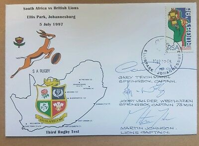 1997 British And Irish Lions Rugby Signed Fdc - Martin Johnson , Joost , Teichma