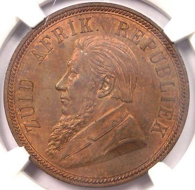 1892 South Africa Zar Penny KM-2 - NGC MS62 - Rare BU MS Certified Coin!