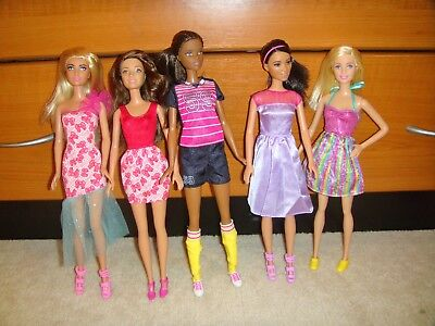 5 Modern Barbie Dolls In Excellent Used Condition Includes Dark Skinned Dolls