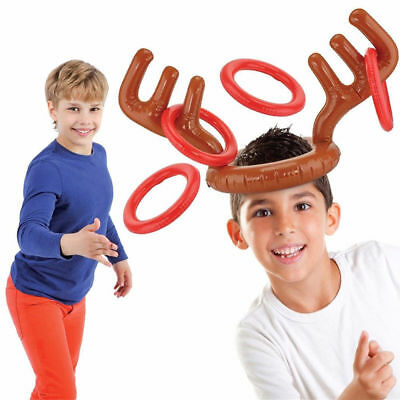 Holiday Party Game Toys Christmas Reindeer Inflatable Hat Antler Ring Toss C
