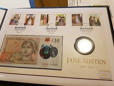 rare jane austin 2 pound & new 10 pound note coin cover limited to 250 worldwide