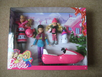 Barbie Sisters Snow Fun Set Barbie Stacie Chelsea Snowmobile and Snowman