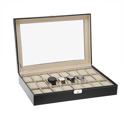 UK New 24 Grid Jewelry Watch Display Box Case Storage Organizer Holder Showcase
