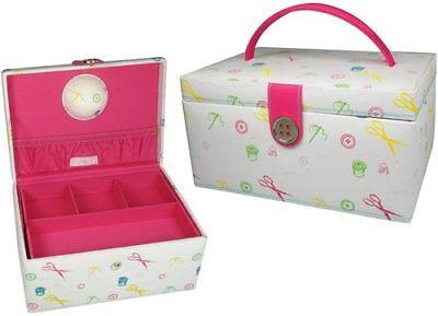 LC Designs 82205 Motif Print with Pink Lining Sewing Storage Box 24 x 17 x 12cm