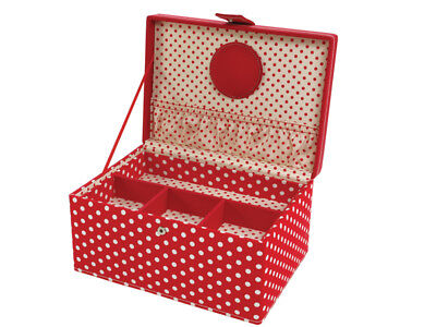 LC Designs 82317 Red Dot + Embroidery Medium Sewing Storage Box 24 x 17 x 12cm