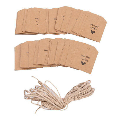 100pcs Made with Love Sign Paper Kraft Tag Head Label Wedding Party DIY