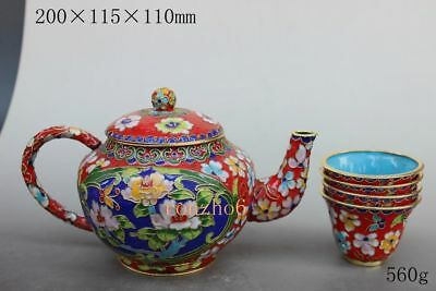 China Collect rare Delicate Cloisonne flower flower red Teapots & Three cups