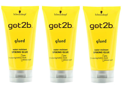 3 X Schwarzkopf Got2b Glued Spiking GLUE 150ml strong hold gel for Hair