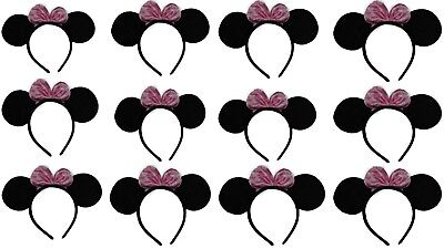 Minnie Mouse Ears with Pink Bow (Lot of 10) Perfect for Birthdays. VOVOV