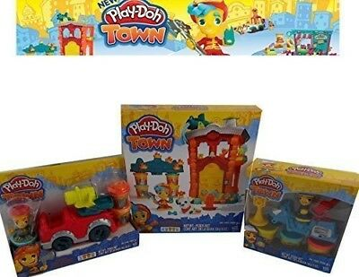 Play-Doh TOWN Firehouse, FireTruck, and Town Police Playset Boys Mould Dough