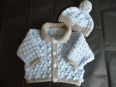 """New Hand Knitted Baby Cardigan & Hat  ~ 16"""" ~  Boy ~ (0 - 3 mnths)  Blue / Grey"""