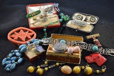 Antique Victorian Art Deco and Vintage mixed job lot jewellery inc. Silver