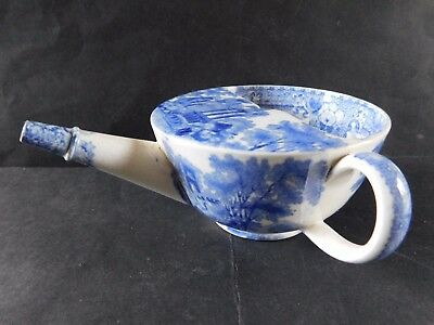 Antique Blue & White Transfer Ware Pottery Invalid Feeder /  Cup, Ruins Pattern