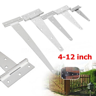 White Iron Triangle Tee Hinge Shed Door Garden Wooden Gate 4''/6''/8''/10''/12''