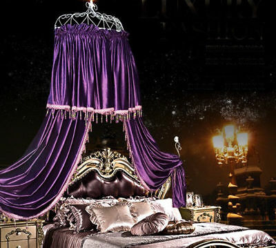 Queen Size Purple Ceiling Mosquito Net Bedding Bed Curtain Netting Canopy *