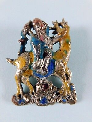 Vintage Chinese Silver And Enamel Brooch / Pin