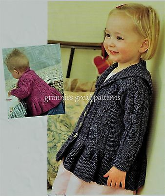 Laminated Knitting pattern lovely Girls Cardigan   DK - BABY up to 5/6 years